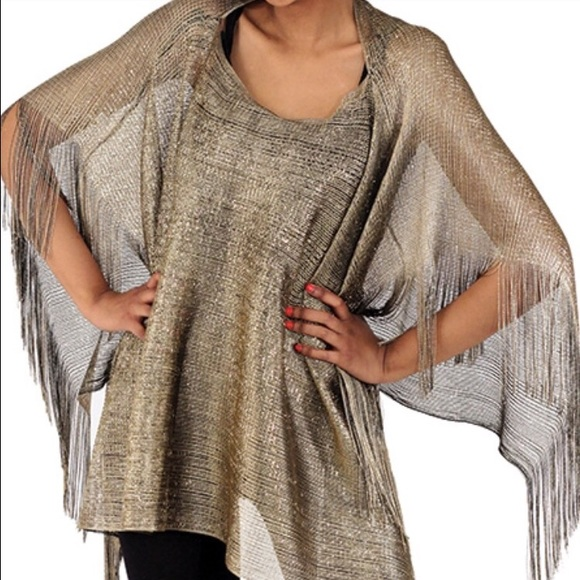 Accessories - Gold Sheer Poncho Coverup