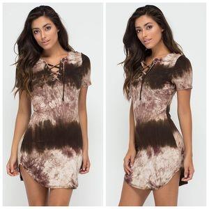 Dresses & Skirts - Olive lace up tie dye mini dress