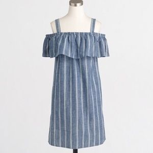 J crew factory striped chambray ruffle dress