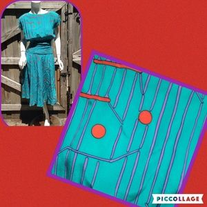 Vintage Charles Bianco Retro 80s Dress Silk  4