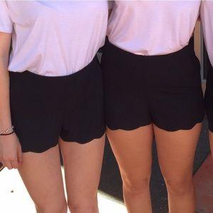 Pants - Black scallop shorts size 4 & 6