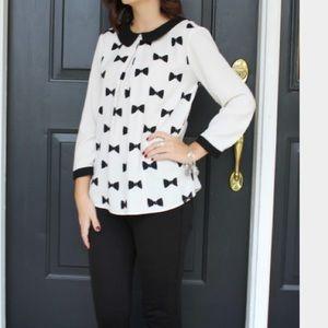 Like New LC Lauren Conrad Bow Blouse Black White