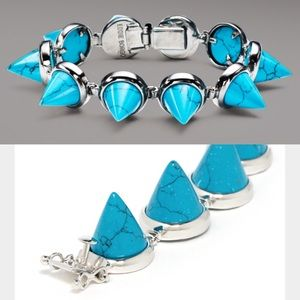 Eddie Borgo Turquoise Spiked Cone Bracelet Silver