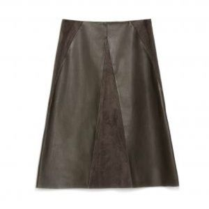 Zara olive faux suede leather A line skirt. XS.