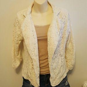 Miss Chievous Jackets & Blazers - CCO Cream Lace Blazer