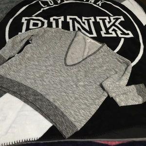 🍀VS slouchy deep V heater gray sweater