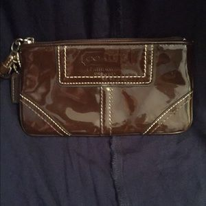 Patent leather Coach wristlet