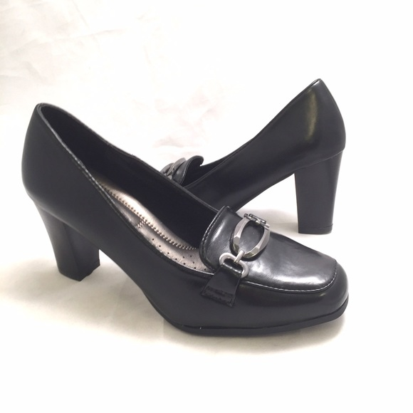 2616c367a4a Pierre Dumas Black Block Heels Work Pumps