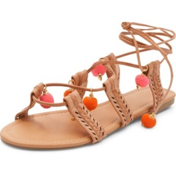 d914a39d826 💋HP💋 MIA Pom Pom Baha Flat Braided Sandals 9.5