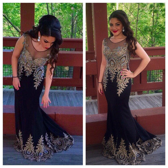 Group USA Dresses | Black And Gold Prom Dress | Poshmark
