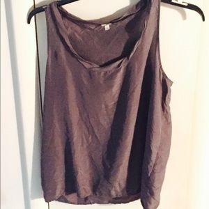 Grey J Crew dressy tank/blouse