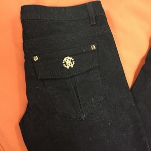 Roberto cavalli black flap pocket jeans size 42