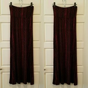 Red and Black Maxi Skirt