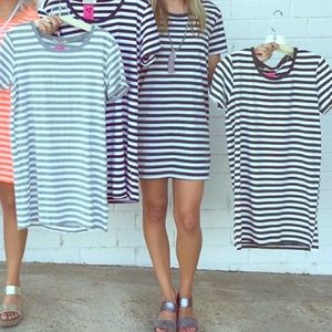 Olive green striped tshirt dress