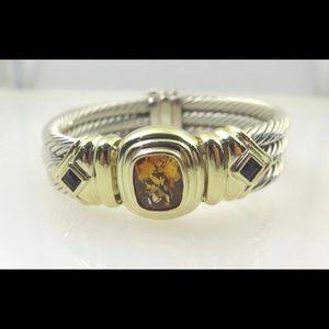David Yurman Jewelry - David Yurman Silver & 14k Gold Cable Link Bangle