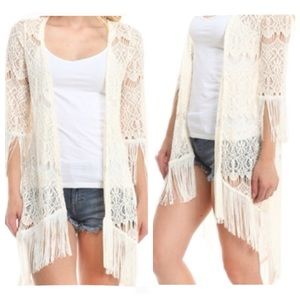 Moon Collection Sweaters - Ivory Lace Fringe Cardigan