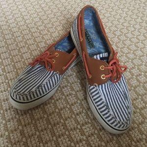 Seersucker sperry topsider boat shoes