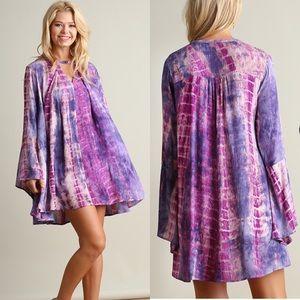Tie Dye A Line Dress- PURPLE MIX