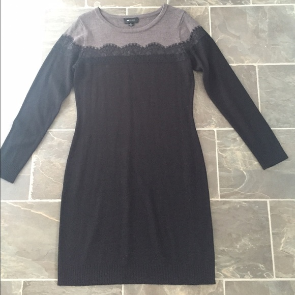 Off Ab Studio Dresses Skirts Black Lace And Grey Sweater