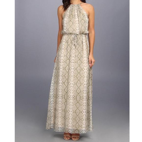 6c424f93232 Vince Camuto Olive Snake Print Maxi Dress. M 57ae3df64e8d17461500ccfc