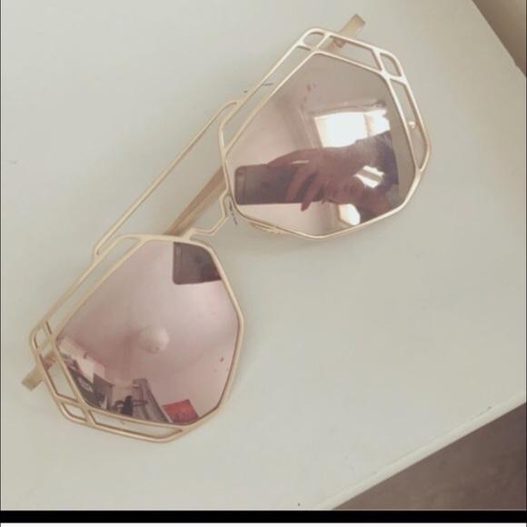 a989d6ad847 ️Rose gold mirror hexagon sunglasses