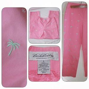 Brooks Brothers Pants - Brooks Brothers Pink Ankle Pants, Palm Trees