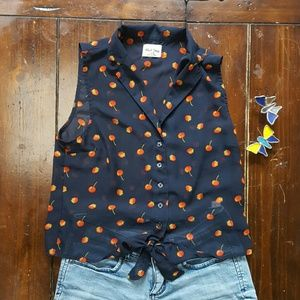 Black Poppy Tops - Cherry and Strawberry Top
