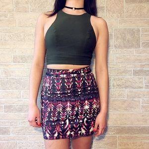 Printed Mini Zippered Skirt