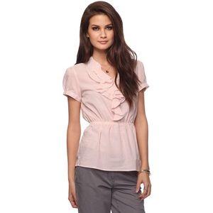 Striped Ruffle Short Sleeve Peplum Top Shirt M