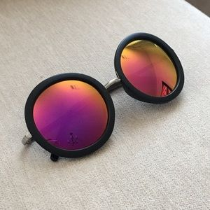 Accessories - Mirror Pink Orange Black Round Sunglasses