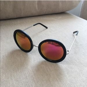 Accessories - Mirror Pink Orange Black Round Sunglasses