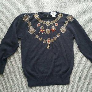 FINAL SALE! Vintage black jeweled sweater.