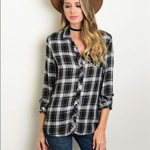 Black & White Plaid Button Up