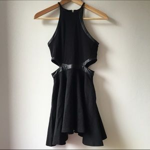 Nasty Gal Skater Dress w/Cutout & Leather Accents