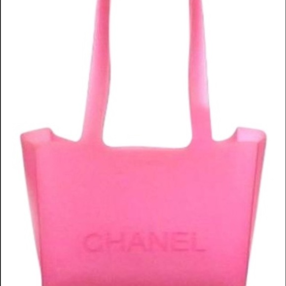 0915f2f30be Chanel Handbags - Chanel Logo Small Pink Jelly Rubber Tote Bag