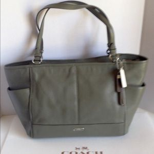 Coach Handbags - SALE!❤️Coach Park Leather Carrie Tote Silver/Olive