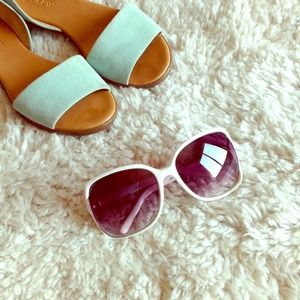 White large sunglasses purple lenses celebrity