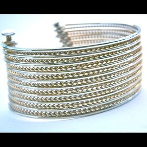 Jewelry - Beautiful Modernist Gold Tone Multistrand Bracelet