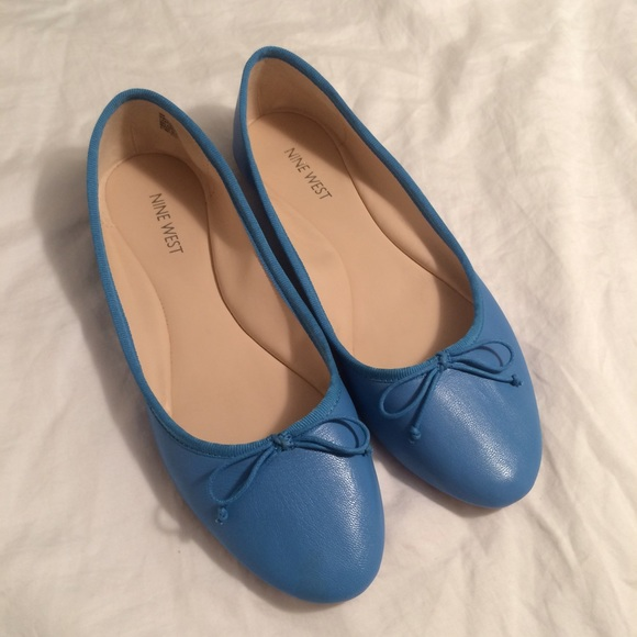 new varieties top fashion sophisticated technologies Nine West Classica Leather Flat in Blue NWT