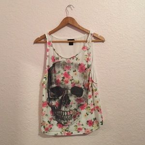 Wet seal skull rhinestone tank top