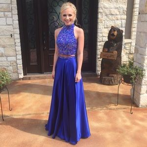 Sherri Hill Dresses Blue Twopiece Prom Dress Poshmark