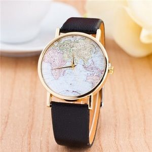WORLD MAP THEME FASHION LEATHER WRIST WATCH -