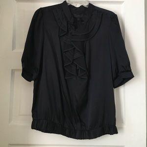 Black silk short sleeve blouse