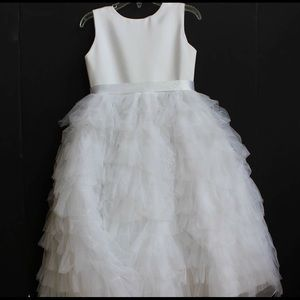 Joan Calabrese Other - Joan Calabrese white satin/tulle flower girl dress