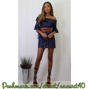 Tea n Cup Dresses & Skirts - Heather Off Shoulder Chambray Dress