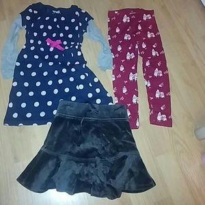 Bundle dress leggings skirt girl 4 years