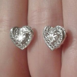 Fine Jewelry Jewelry - 2 DAY SALE! Diamond Accent Heart Rhodium Studs