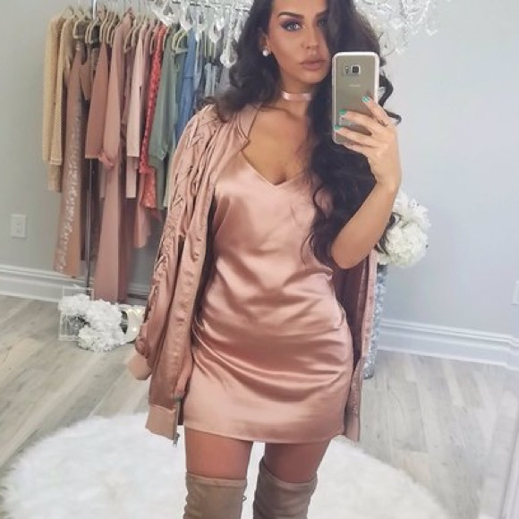 Carli Bybel x Missguided Rose Gold Lace up Bomber