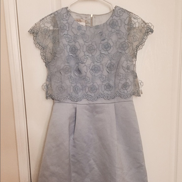 460ceab012aed2 Ted Baker Baby Blue Dabria Floral Bodice Dress
