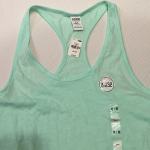Pink Victoria's Secret Light Blue Tank Top